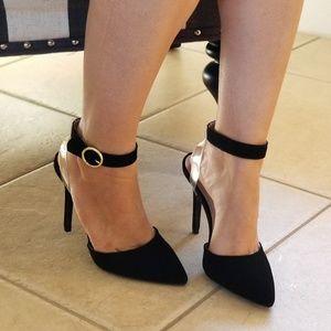 Shoes - BLACK FAUX SUEDE ANKLE STRAP HEELS